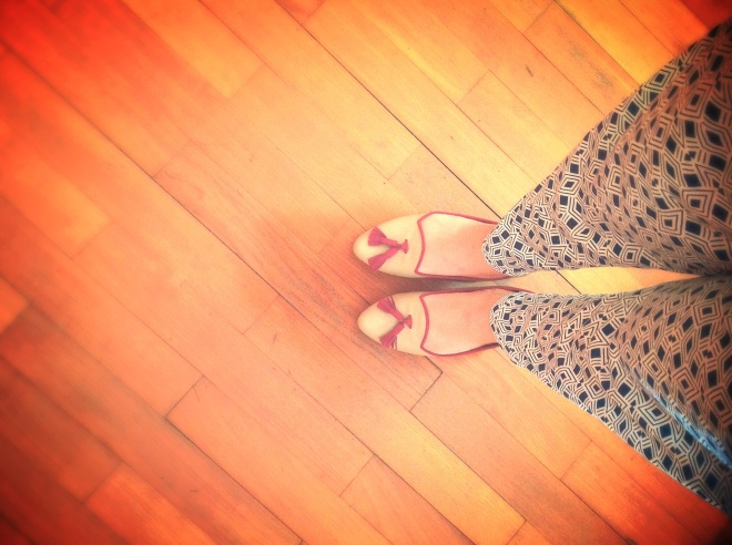 Proudly wearing homegrown labels: flats from Yongki Palamadi; pants from Gaudi.