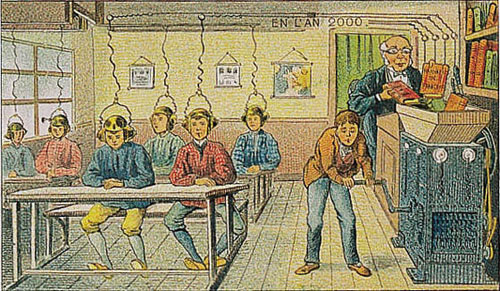 A 1910 prediction of what 21st century classrooms would look like. We don't have that technology, but this depiction isn't too far from the truth...