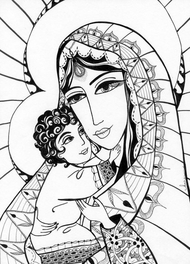 """Madonna and Child as Indians"" by Karen Zainal"