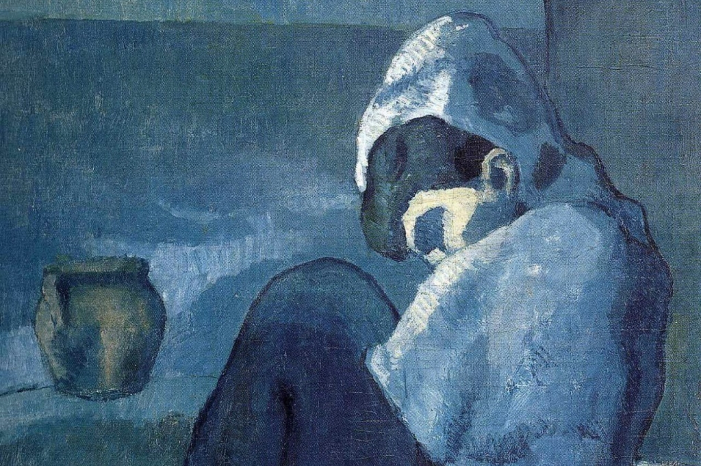 Pablo_Picasso,_1902-03,_Femme_accroupie,_Crouching_Woman_(Woman_Sitting,_with_Hood),_oil_on_canvas,_90_x_71_cm,_Staatsgalerie,_Stuttgart