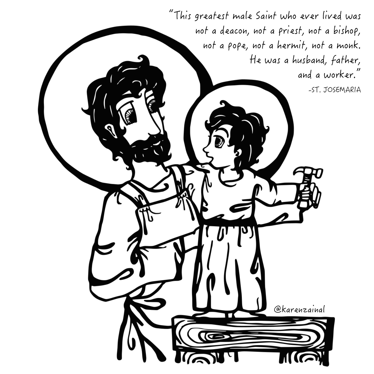 St Joseph the Worker (square with quote)